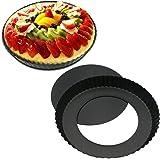 Inditradition Quiche Tart Pan, Baking Pie Pan   Non-Stick Removable Loose Bottom   20 cm Diameter, Carbon Steel (Black)