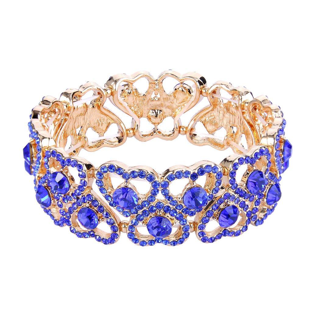 EVER FAITH Women's Austrian Crystal Sweet Love Heart Bridal Elastic Stretch Bracelet Royal Blue Gold-Tone