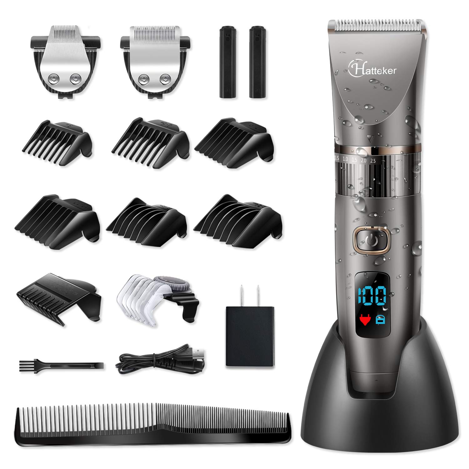 Hatteker Mens Beard Trimmer Cordless Hair Trimmer Hair Clipper Detail Trimme for Men Hair Cutting Kit Men's Grooming Kit Waterproof