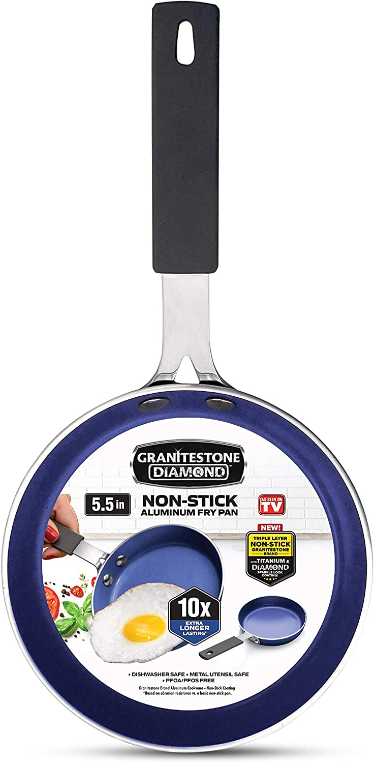 Granite Stone Diamond 7031 Granite Stone Classic Blue Nonstick Mini Single Serve Skillet, Diamond Infused, Multipurpose Pan Designed for Eggs, Omelets, Pancakes, Rubber Handle, 5.5""