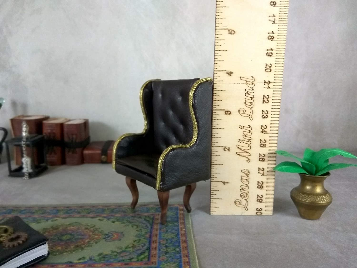 Luxury Armchair for Dollhouse 1:12 scale Miniature Leather Wing Chair
