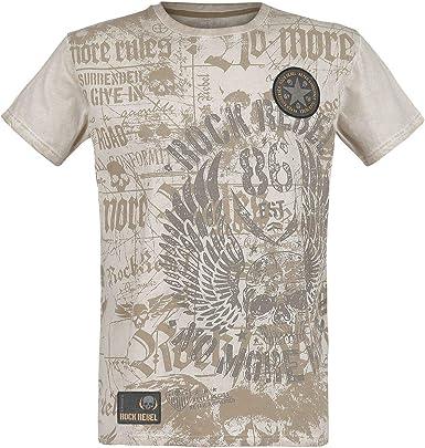 Patches Regular Rock Rebel by EMP Through The Glass Hombre Camiseta Manga Larga Gris Oscuro Vintage