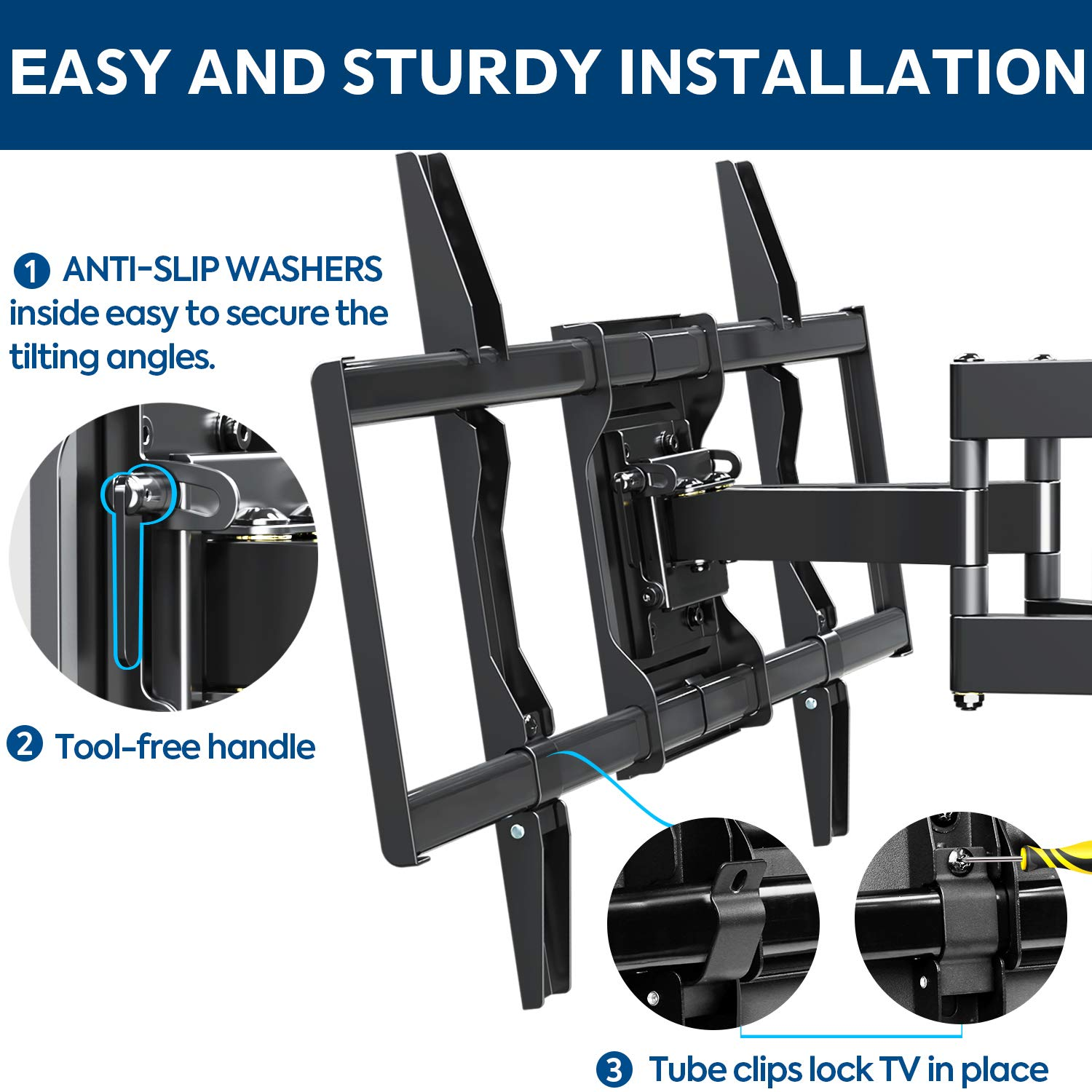 Mounting Dream TV Mount Bracket for 4270 Inch Flat Screen TVs Full Motion TV Wall Mounts with Swivel