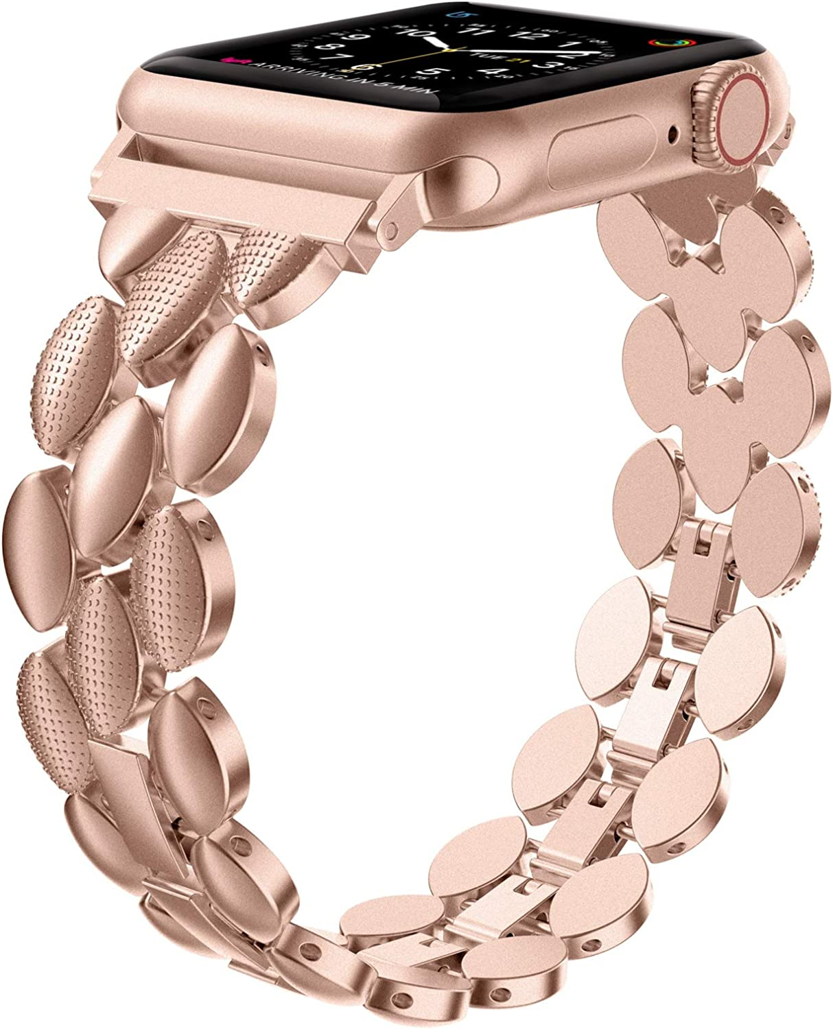 Moolia Compatible with Apple Watch Band 38mm 40mm Metal Fashion Women Replacement Strap Bracelet for iWatch SE Series 6 5 4 3 2 1,Gold Series 3 (Match Series 5 & 4 & 3)