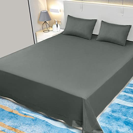 Amazon Com Allo King Size Flat Sheet Only Gray Sheets Brushed