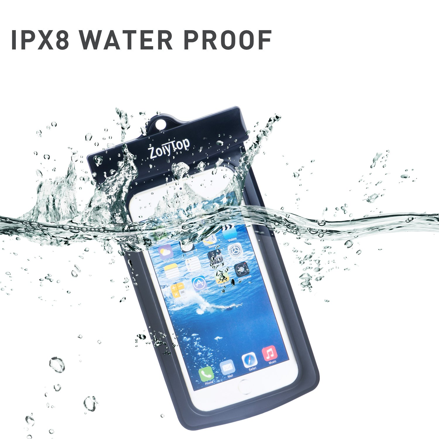 Waterproof Case,Universal best Durable Underwater Dry Bag Sealed System for iPhone 7/6s/6s plus/5s/SE, Samsung Galaxy S6/S7,HTC and Other Smartphone;Waterproof Bag for Boating/Swimming/Diving (black)