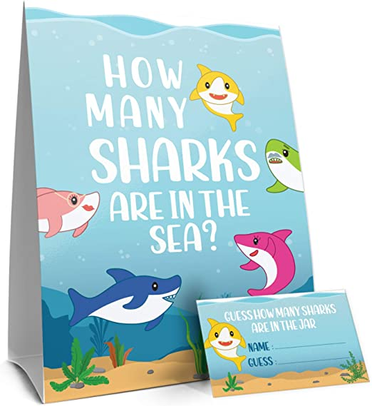 Juego de mesa con texto en inglés «How Many Candy Sharks Party» y ...