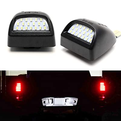 iJDMTOY OEM-Fit 3W Full LED License Plate Light Assembly Kit Compatible With Chevrolet Silverado GMC Sierra 1500 2500 3500 Truck, Powered by 18-SMD Xenon White LED Diodes: Automotive