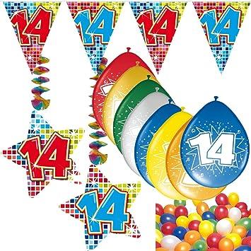 54 Set de decoración de fiesta Set * Número 14 * Cumpleaños ...