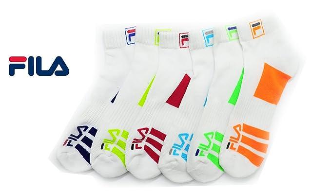 5703e1c1d9783 Fila Mens 6-Pack Men's Sport Quarter Socks, White, One Size at ...