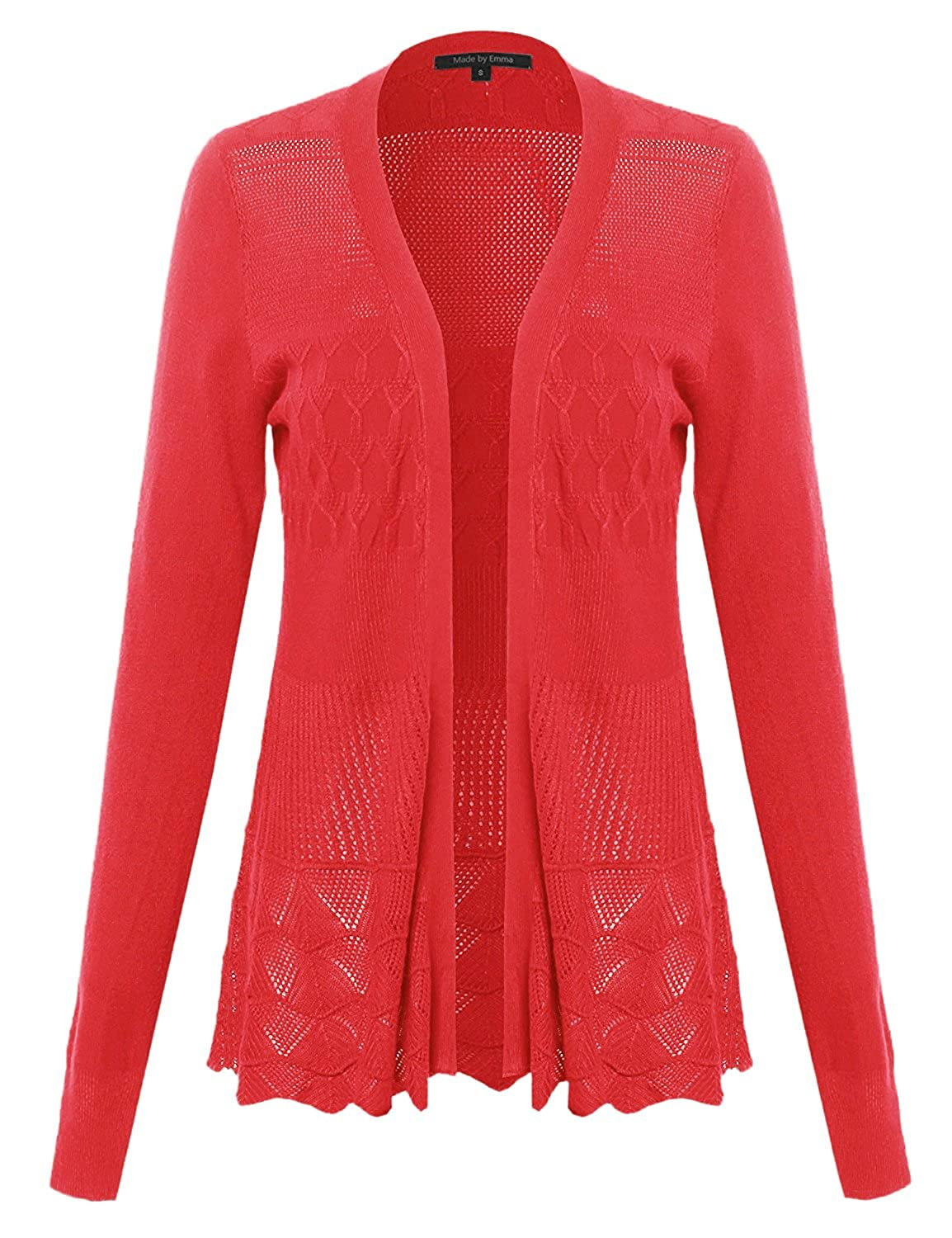 Fwocal014 Coral Made by Emma Women's Embroidery Lace Patterned Long Sleeves Cardigan Sweater