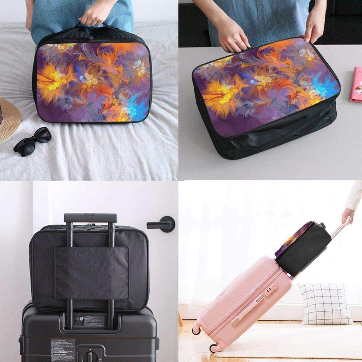 Art Abstract Flower Color Travel Lightweight Waterproof Foldable Storage Carry Luggage Large Capacity Portable Luggage Bag Duffel Bag