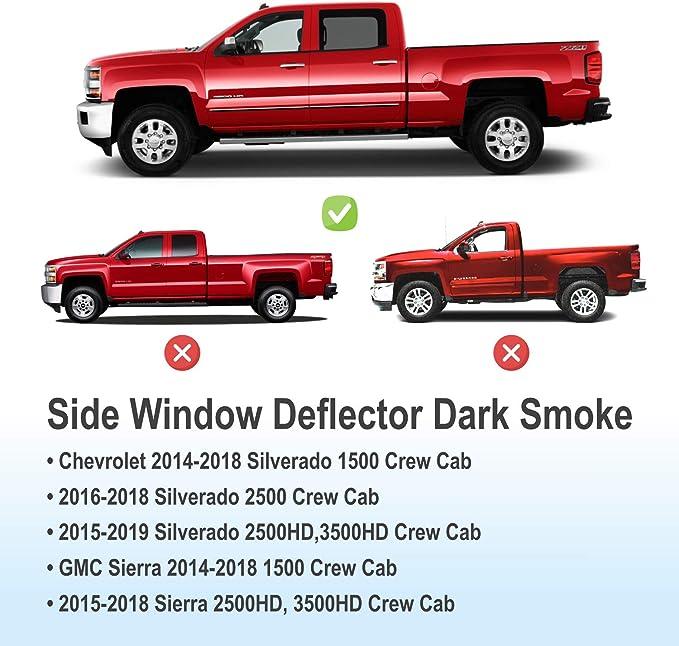 Original Window Deflectors Dark Smoke Truck Accessories,4pcs- 614003LP CLIM ART in-Channel Incredibly Durable Rain Guards for Chevrolet Silverado 14-18 Crew Cab Vent Window Visors Vent Deflector
