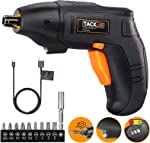 TACKLIFE Electric Screwdriver, 4V Max Cordless Screwdriver Rechargeable with Micro USB,