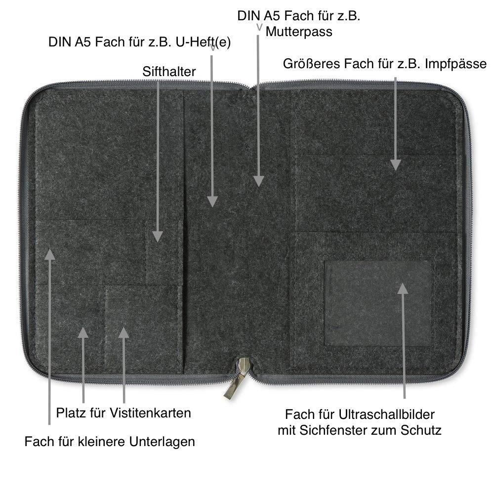 | H/ülle in A5 als Uheft- und Mutterpassh/ülle Farbe w/ählbar 2in1 Mom/'s Organizer Bl/ümchen mit rundum Rei/ßverschluss aus Filz f/ür Mutterpass /& U-Heft aqua