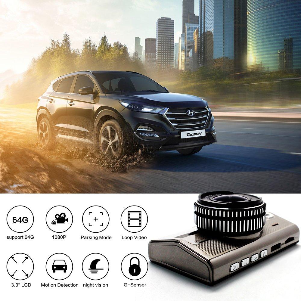 Dash Cam Full HD 1080P Camara Frontal de Coche de 170 Amplio Angulo de Vision de la Noche Estacionamiento Vigilancia G-Sensor de Deteccion de Movimiento: ...