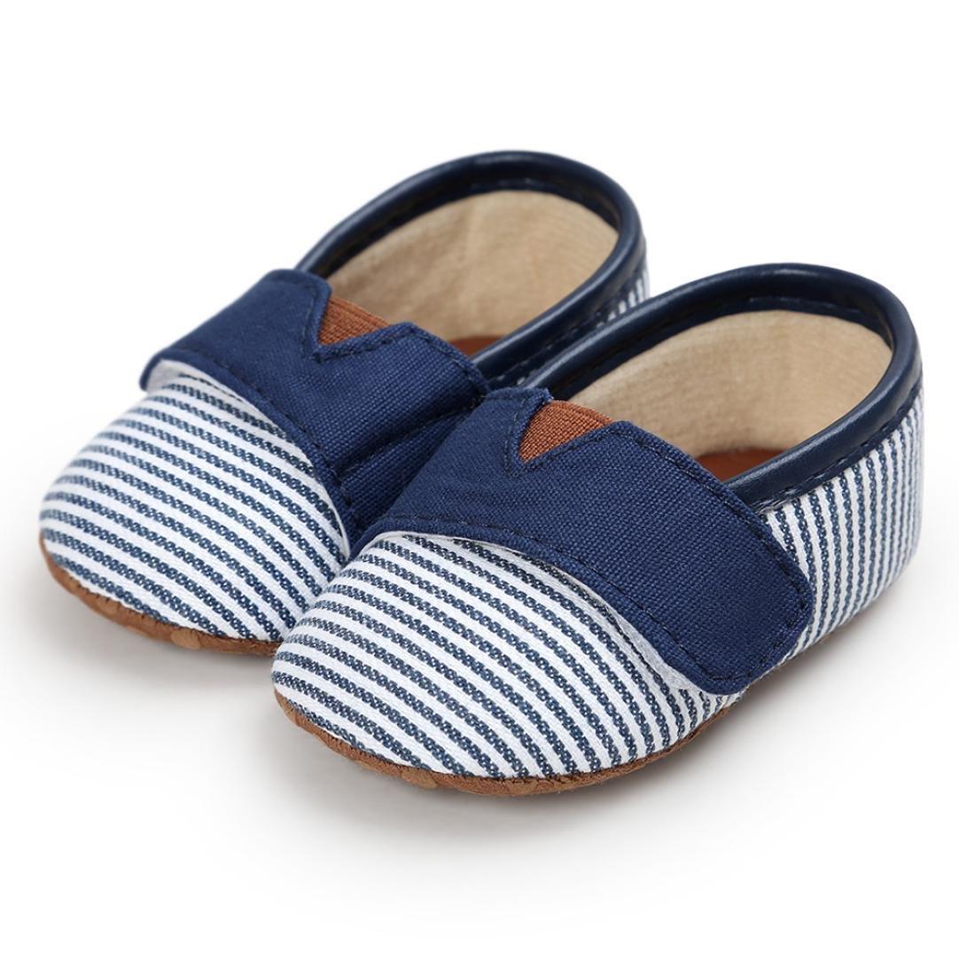 Witspace Infant Baby Boys Girls Stripe Canvas Crib Shoes Newborn Kids Anti-Slip Flats Shoes