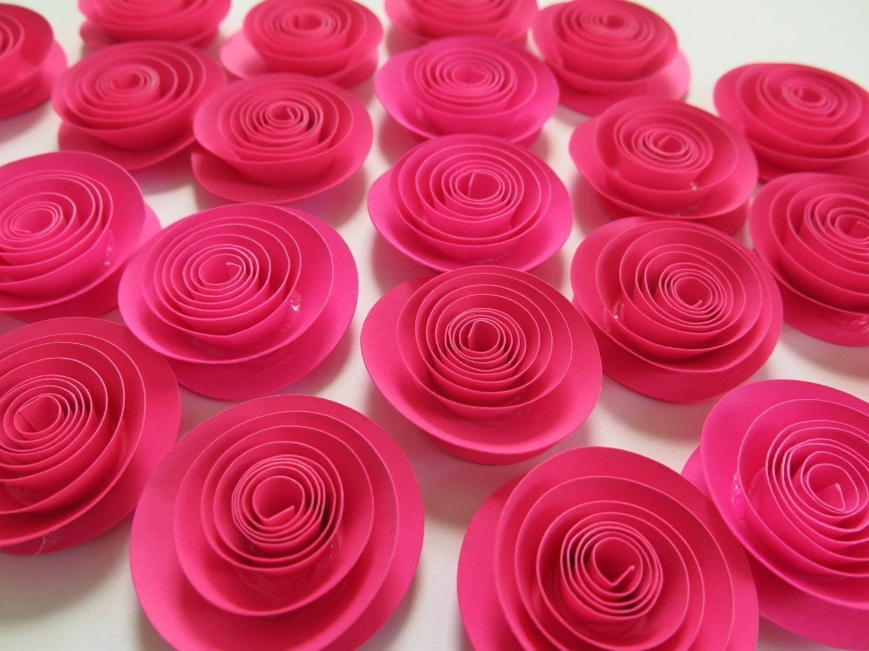 Fuchsia Paper Flowers Set of 24, Bulk Hot Pink 1.5 Inch Roses Lot, Girl Nursery Ideas, Baby Shower Decor, Wedding Reception Table Scatter