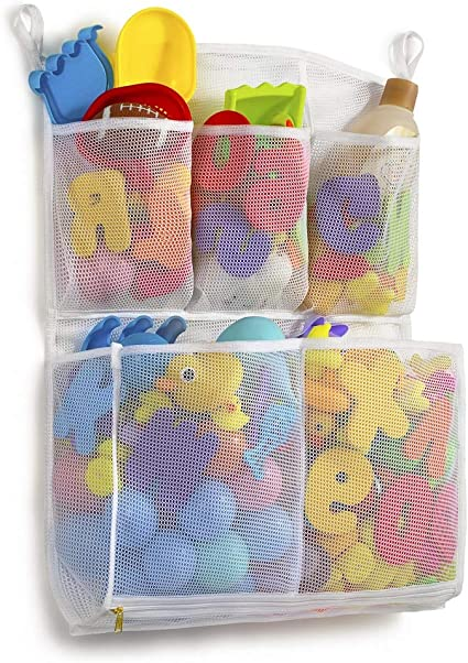 Toddler Shower Caddy for Bathroom 14 x 20 , White Multi-Purpose Baby Toys Net Tenrai Mesh Bath Toy Organizer Quick Drying Kids Toy Holder Bathtub Storage Bag