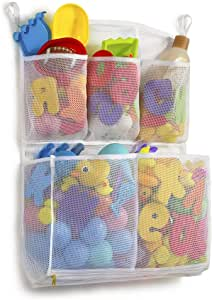 "Tenrai Mesh Bath Toy Organizer, 4 Ultra Strong Hooks, Bathtub Storage Bag, Multi-Purpose Baby Toys Net, Toddler Shower Caddy for Bathroom, Kids Toy Holder with 5 Soap Pockets (16"" x 23"" , White, M)"