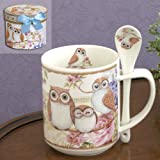 Bits and Pieces - 10 OZ Owl Mug with Teaspoon - Coffee and Tea Mug Comes in Beautiful Gift Box