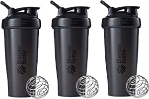 BlenderBottle Classic Loop Top Shaker Bottle 3-Pack, 28 oz (Black)