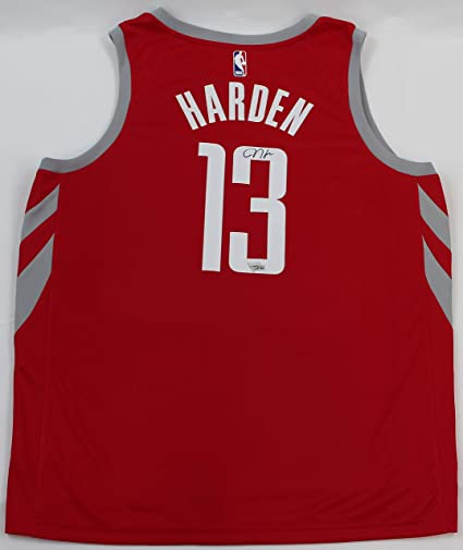 0f55db0a5 James Harden Autographed Red Rockets Jersey - Hand Signed By Harden and  Certified Authentic by Fanatics