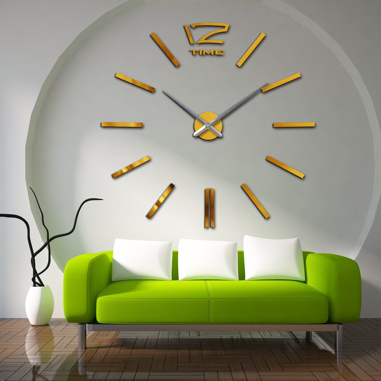 Amazon.com: HUANGYAHUI Clock Acrylic 3D Fashion Mirror Wall Clock Wall Clock Black: Home & Kitchen