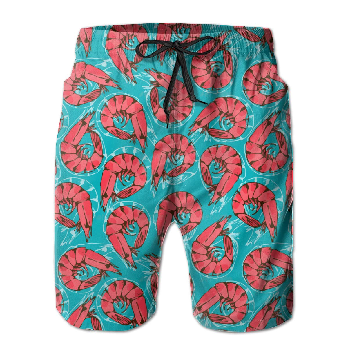 Men's Swim Trunks with Pockets & Waist Drawstring - Quick Dry Beach Surfing Running Swimming Shorts - Red Shrimp Seafood Teal Casual Soft Board Shorts - No Mesh Lining