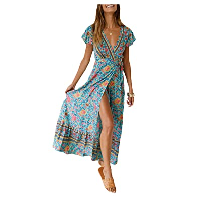 Besshopie Women's Summer Bohemian Floral Beach V Neck Maxi Dresses Long with Sleeves at Amazon Women's Clothing store