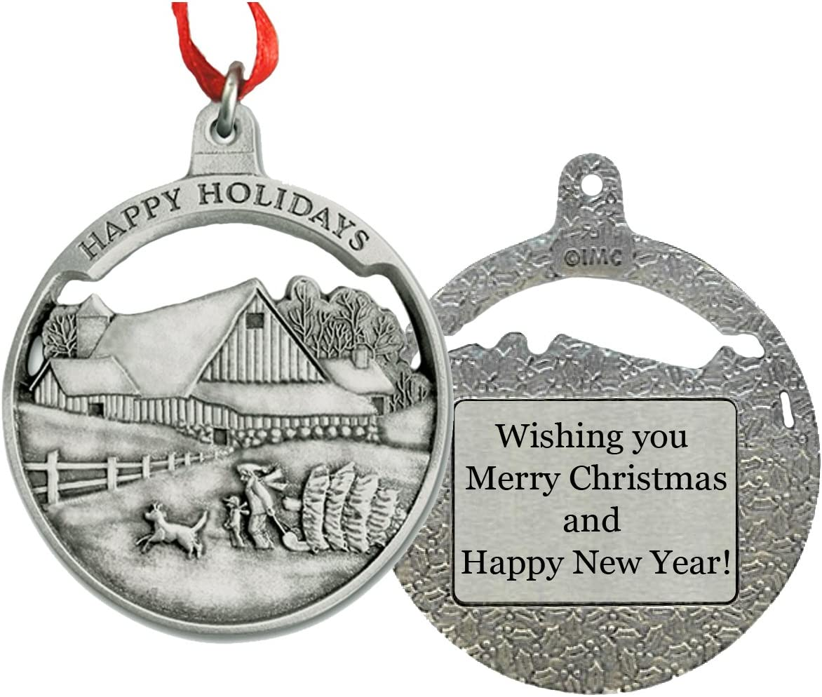 Indiana Metal Craft Winter Barn Scene Personalized Pewter Ornament IMC-Retail