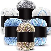 6 Pieces 50 g Crochet Yarn Multi-Colored Acrylic Knitting Yarn Hand Knitting Yarn Weaving Yarn Crochet Thread (Gray…