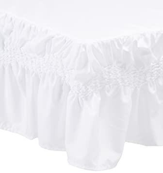 Elegant Comfort Luxury Puff Collection Bed Skirt a 14 inch Drop, King, White