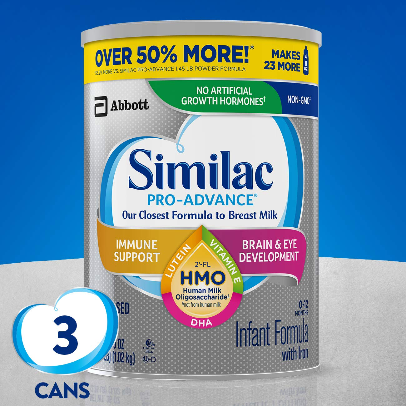 Similac Pro-Advance Non-GMO Infant Formula with Iron, with 2'-FL HMO, for Immune Support, Baby Formula, Powder, 36 oz, 3 Count (One-Month Supply) by Similac