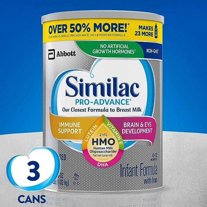 Similac 雅培 Pro-Advance 非转基因加铁 1段婴儿配方奶粉 1.02kg*3罐 镇店之宝¥691