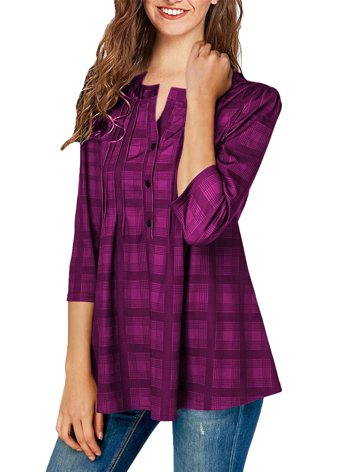 ONLYSHE Women's Long Sleeves Button Down Plaid Shirts Crew Neck Blouses Casual Style Purple X-Large