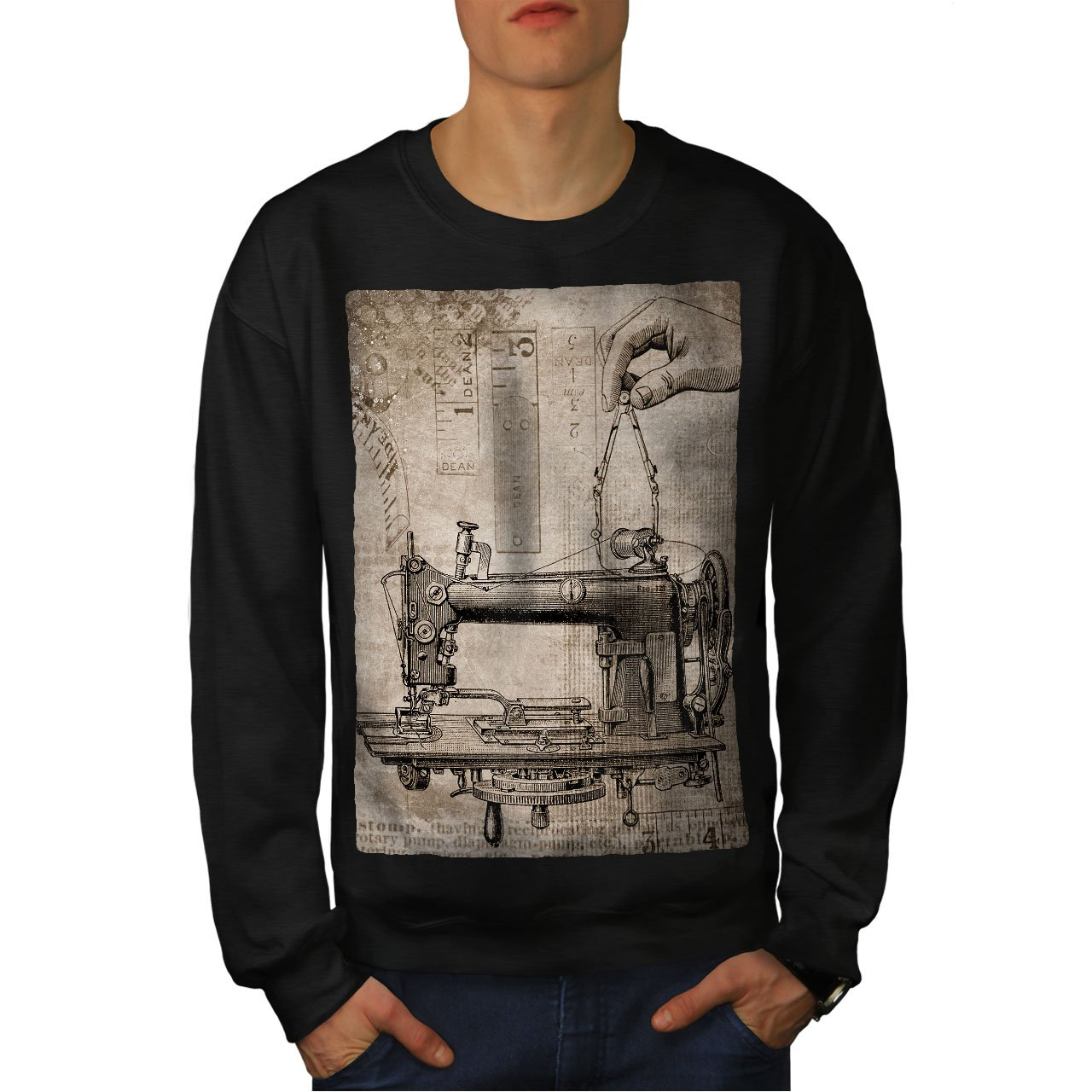 wellcoda Sewing Machine Mens Sweatshirt Mechanical Casual Jumper