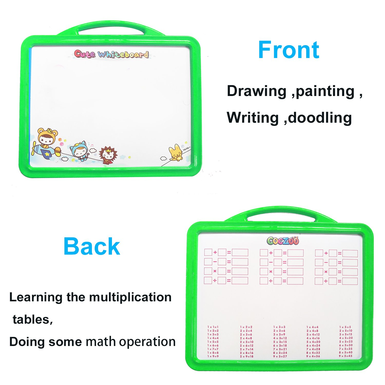 MICKYU Kids Educational Toys Large Magnetic Easel Set with 26 Magnetic Letter ,4 Dry Erase Markers and 2 Emoji Magnet ,Dry Erase Board Puzzle Games for Boys Girls