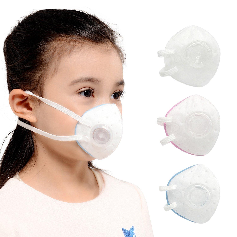 kanjekanle再利用可能なダスト通気性洗濯可能スポーツ面マスク、静電コットン素材保護マスクバルブ、for Kids (3 – 6歳) B077Y9JDL2  white,blue.pink
