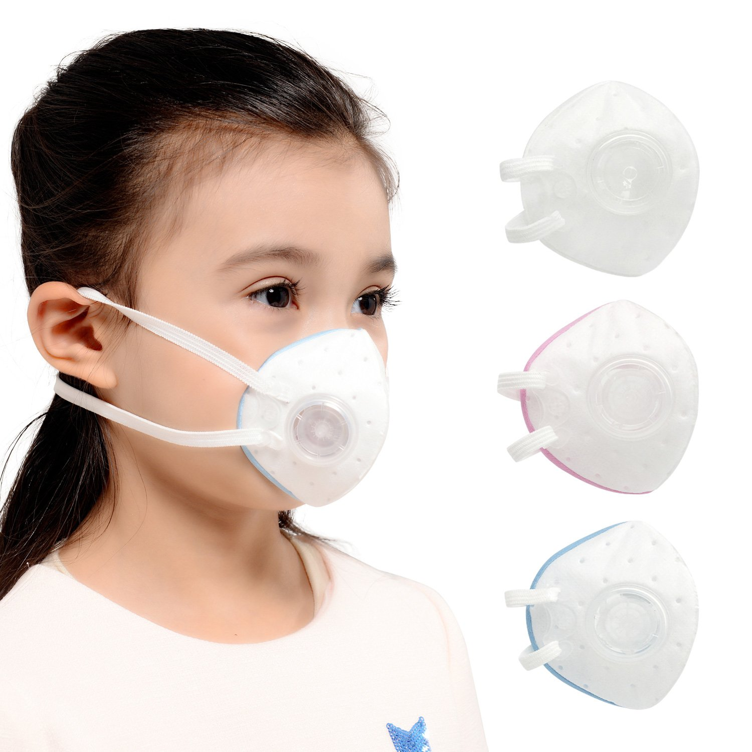 ANJEKANLE Reusable Dust Breathable Washable Sport Face Masks,Electrostatic Cotton Material Respirator Valve,for Kids (3-6Y) 3 pack