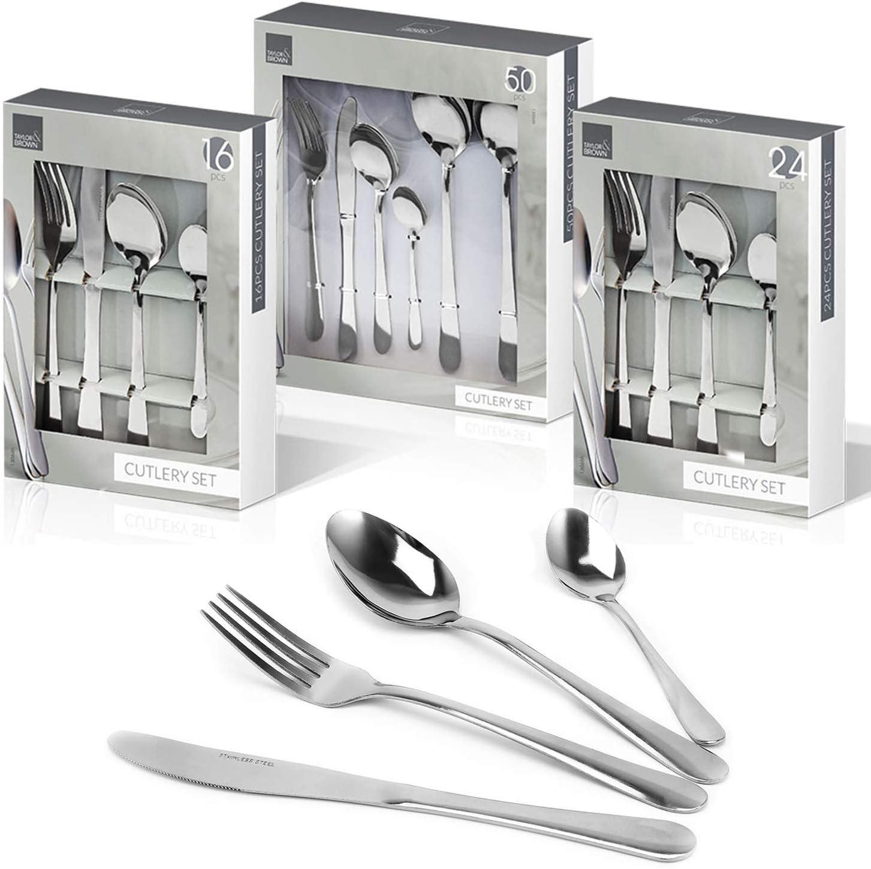 16 piezas Top Home Solutions acero inoxidable Juego de cuberter/ía de acero inoxidable para 16 y 24 cuchillos tenedores y cucharas