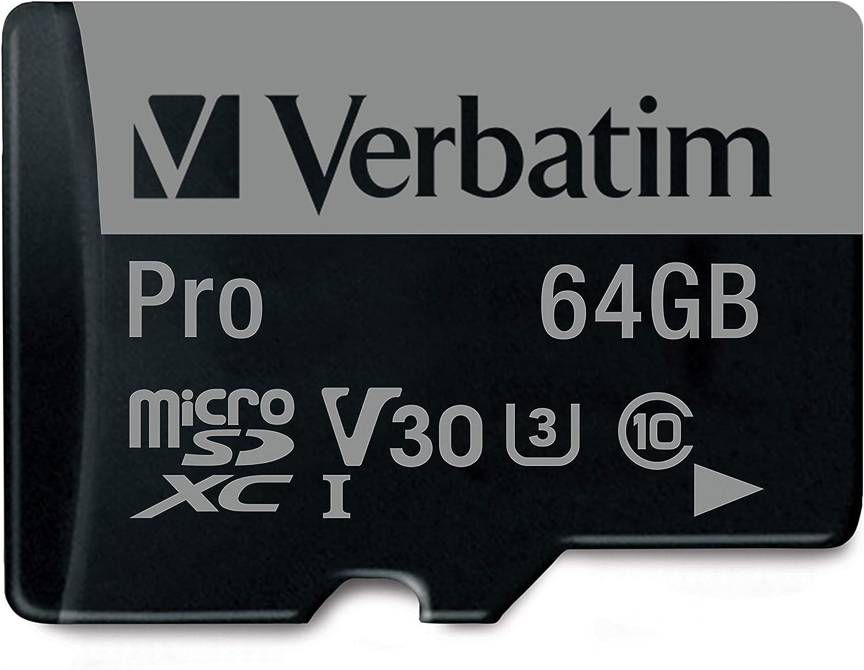 Verbatim 64GB Pro U3 microSDXC 64GB MicroSDXC XC I Class 10 memoria flash - Tarjeta de memoria (MicroSDXC, Negro, UHS, Class 10, SD, Resistente a golpes, Resistente al agua)