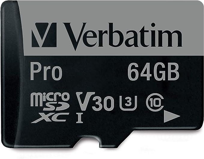TALLA 64 GB. Verbatim 64GB Pro U3 microSDXC 64GB MicroSDXC XC I Class 10 memoria flash - Tarjeta de memoria (MicroSDXC, Negro, UHS, Class 10, SD, Resistente a golpes, Resistente al agua)