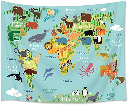 LB World Map Tapestry Animal Tapestry Kids Tapestry Wall Hanging Cartoon World Animals Distribution Map Wall Blanket for Kids Bedroom Living Room Dorm Decor, 92.5Wx70.9H inches