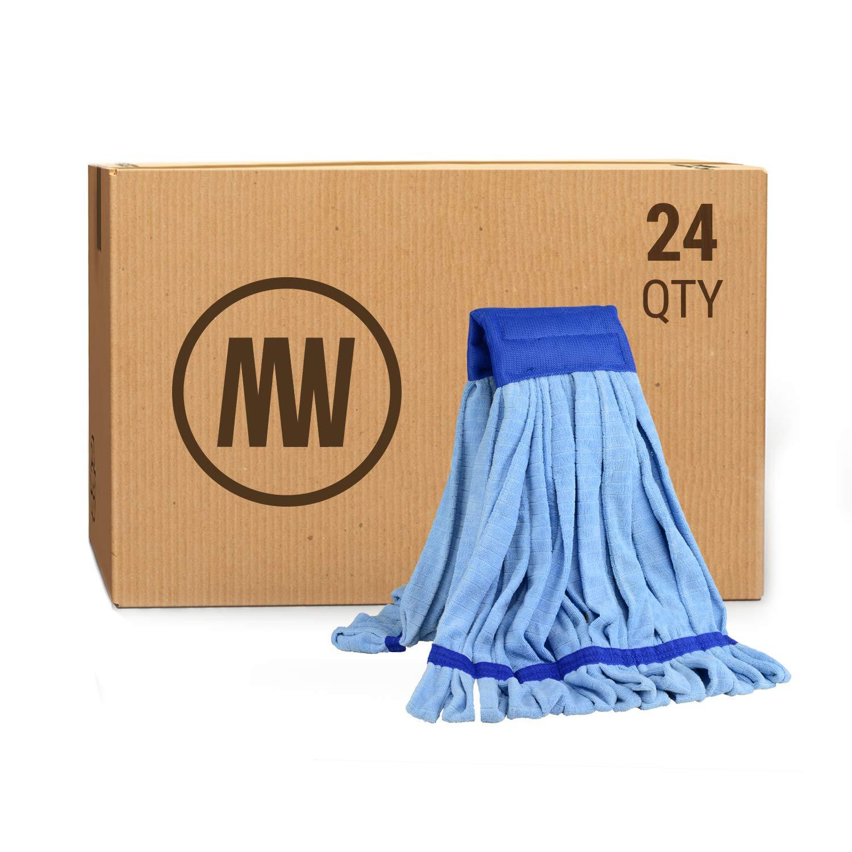 Bulk Large Microfiber Tube Mop Head   Wholesale Commercial Industrial Wet Mops   Machine Washable   Blue   Case Quantity (24 Count) by Microfiber Wholesale