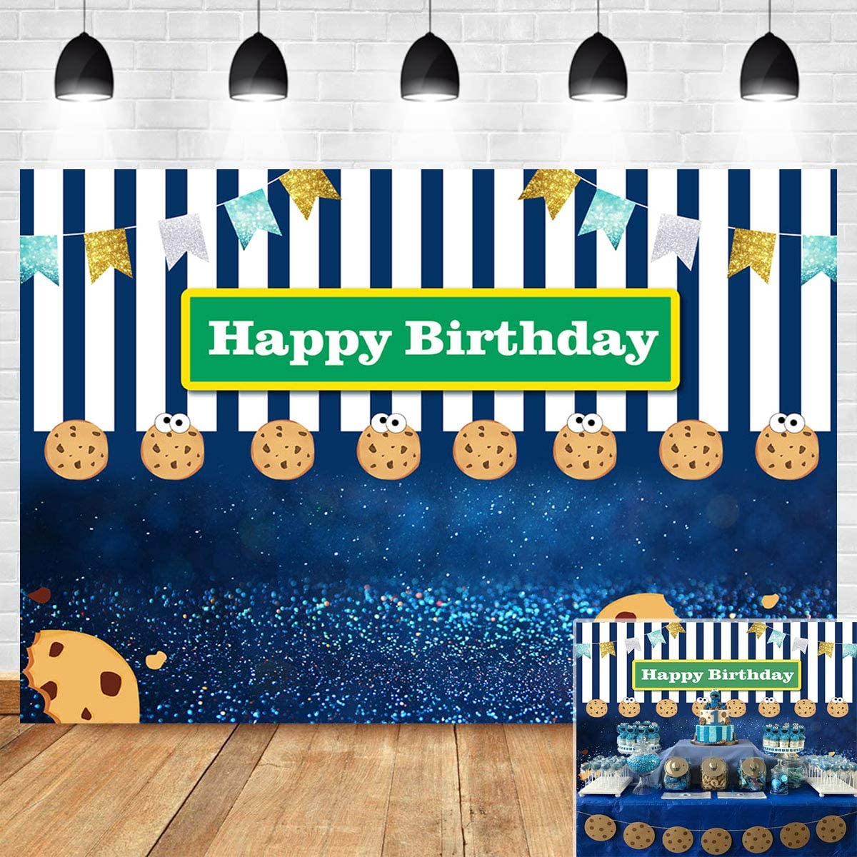 Blue White Stripe Bokeh Shining Spots Gold Glitter Flags Photo Booth Studio Props Photography Backdrop Cookies Carnival Fiesta Photo Background Kids Happy Birthday Vinyl 5x3ft Dessert Table Decor
