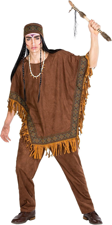 TecTake dressforfun Disfraz de Indio Caballo Salvaje para Hombre | pantalón y Poncho Moderno | Bonitos Bordados de Estilo étnico y magnificos Flecos (XXL | no. 300680)