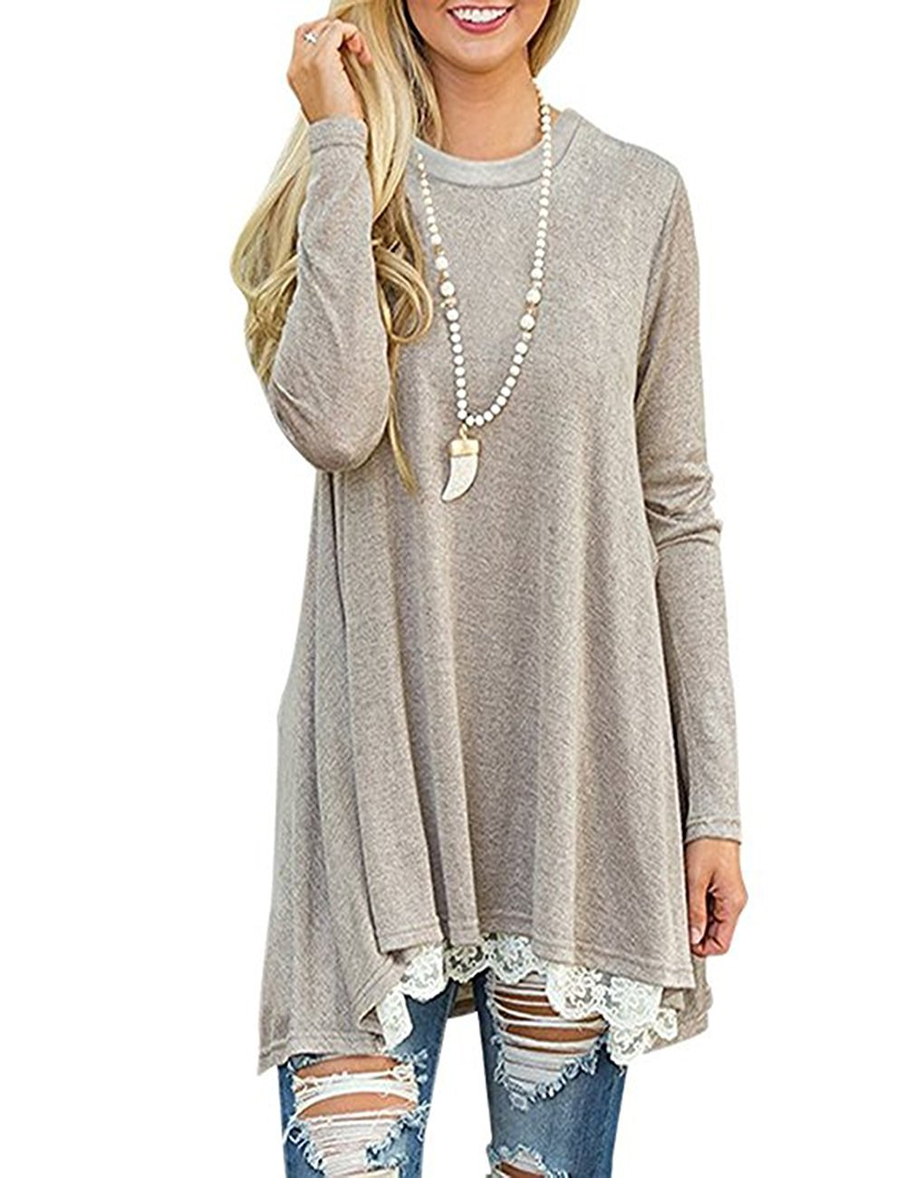 Andaa Women's Crew Neck Long Sleeve Lace Splicing Swing Shirt Dresses Long Tunic Blouses Shirts for Leggings (Large, Khaki)