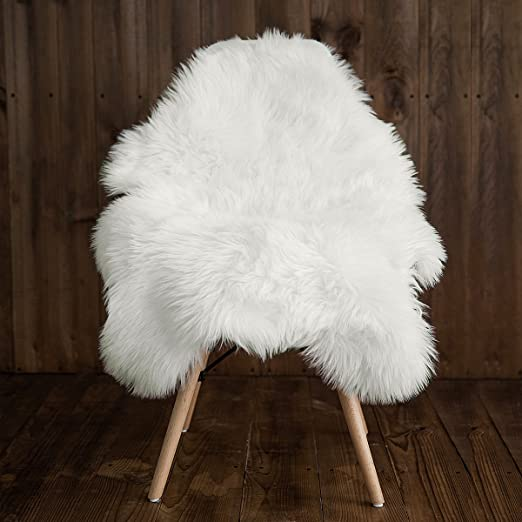 Yesland 2 Pack 16 Round Shaggy Faux Fur Sheepskin Chair Cover Area Rugs Super Soft Fluffy Plush White Seat Cushion//Floor Mat for Bedroom//Office//Restaurant Chair