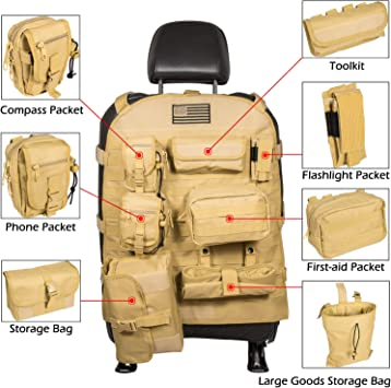 Yellow Universal Seat Cover Case with Organizer Storage Muti Pocket For Jeep Wrangler JK JL Unlimited CJ YJ Cherokee Rubicon Ford F150 Ridgeline Toyota Chevy Dodge Seat Protector Multiple Pockets